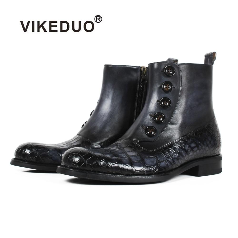 VIKEDUO bout rond noir Crocodile en cuir bottes hommes Patchwork à la main patine peau de vache automne hiver bouton de fermeture éclair bottines