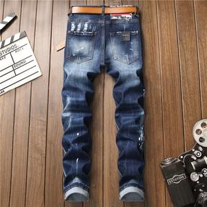 Image 3 - European American Style luxury quality Mens slim jeans pants famous brand mens Pencil Pants Straight blue hole jeans for men