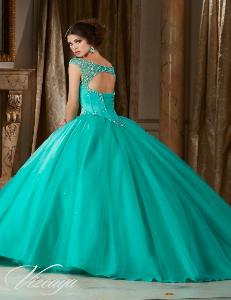 2016 Mint Ball Gown Crystal Masquerade Dresses Scoop Lace Up Sweet ...