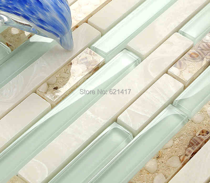 Buy Light Blue Crystal Glass Strip Shell Mosaic Tiles HMGM11