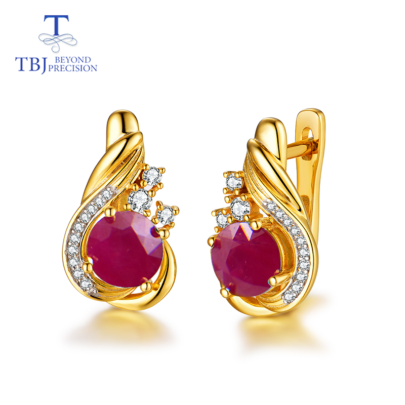 TBJ,natural Ruby Gemstone Simple Classic Design Earring In 925 Sterling Silver Yellow Gold Color Best Engagement Gift For Women