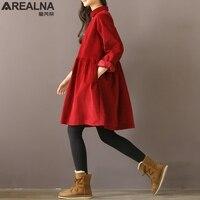 Winter Autumn Vintage Dress Women Casual Loose Party Dresses Peter Pan Collar Corduroy Cotton Dress A