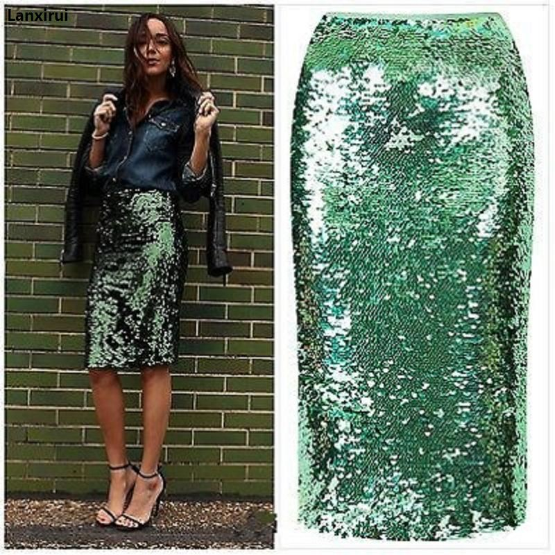 Top Quality Women Green Sequin Zipper Midi Skirt Package Hip Slim Pencil Skirt Femininas Elegant Ladies Party Wear Sexy