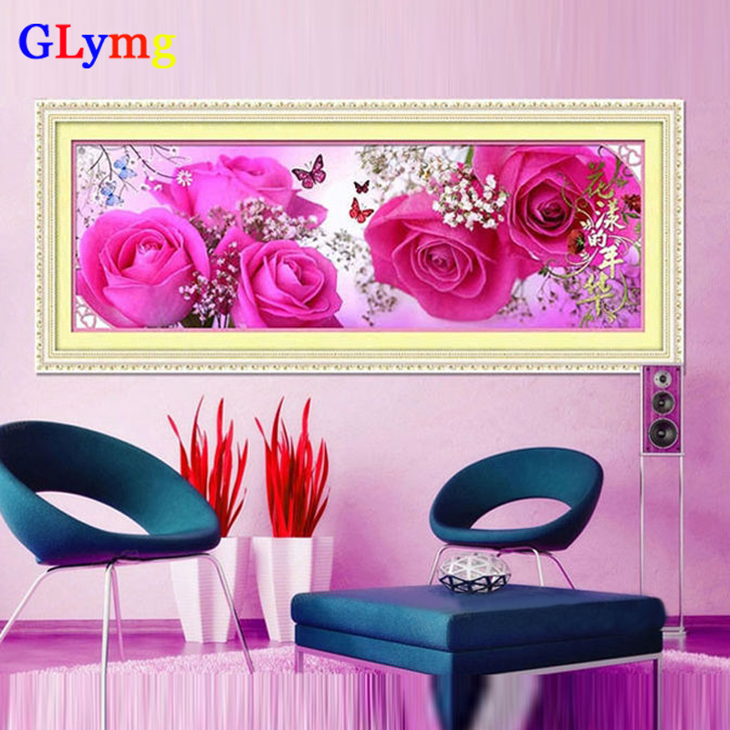122X36cm 5D DIY Diamantbroderi Blomster Red Rose Cross Stitch Bedroom Dekorative Maleri Mosaikk Crystal Round Diamond JC8397