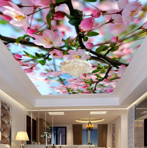 beautiful green wall murals for living room theme | Beautiful Flower HD Ceiling Frescoes Custom 3D Mural ...