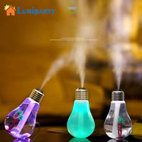 LumiParty LED Bulb Humidifier Quiet Operation Mistorizer With 7 Color Changing 400ML Mini USB Air Humidifier