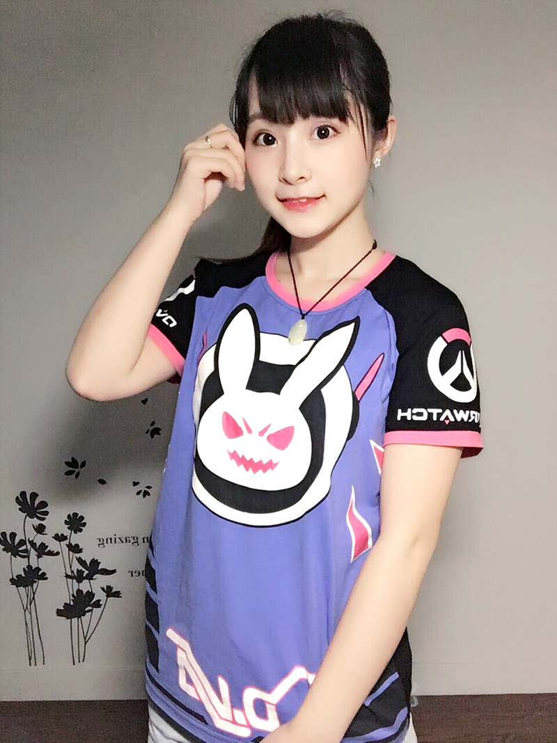 Free shipping LOVELY rabbit tee shirt Game Character OW D VA t shirt for Summer