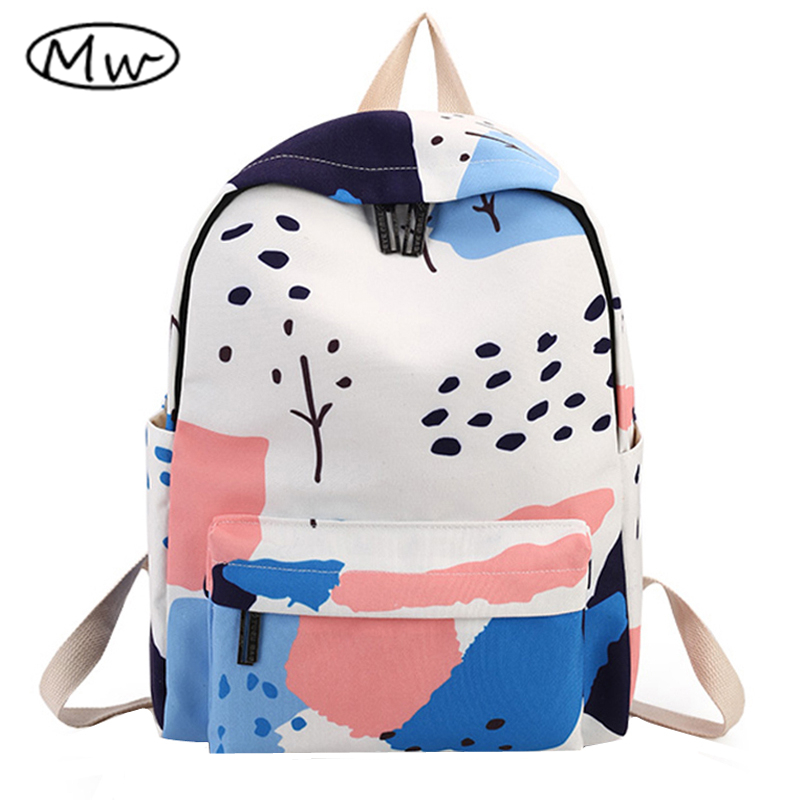 Moon Wood Newest Landscape Printing Backpack High Quality Women Canvas Backpack School Bags For Teenager Girls Book Bag Rucksack 2017 new arrived orthopedic backpack children school bags for girls and boys high quality 3d printing book bag mochila escolar