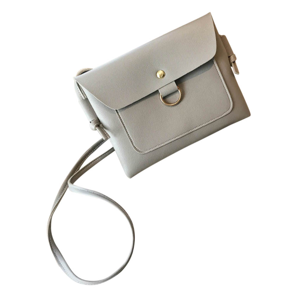 Simple Fashion Women PU Leather Messenger Bags Solid Color Metal Ring Ladies Girls Casual Shoulder Bag Wholesale Best S