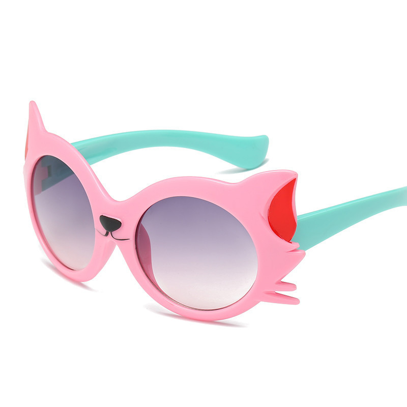 f509c9851a 2018 New Fashion Kid s Sunglasses Boys Girls Child Lovely Cartoon Cat Eye Sun  Glasses Gradient Lens