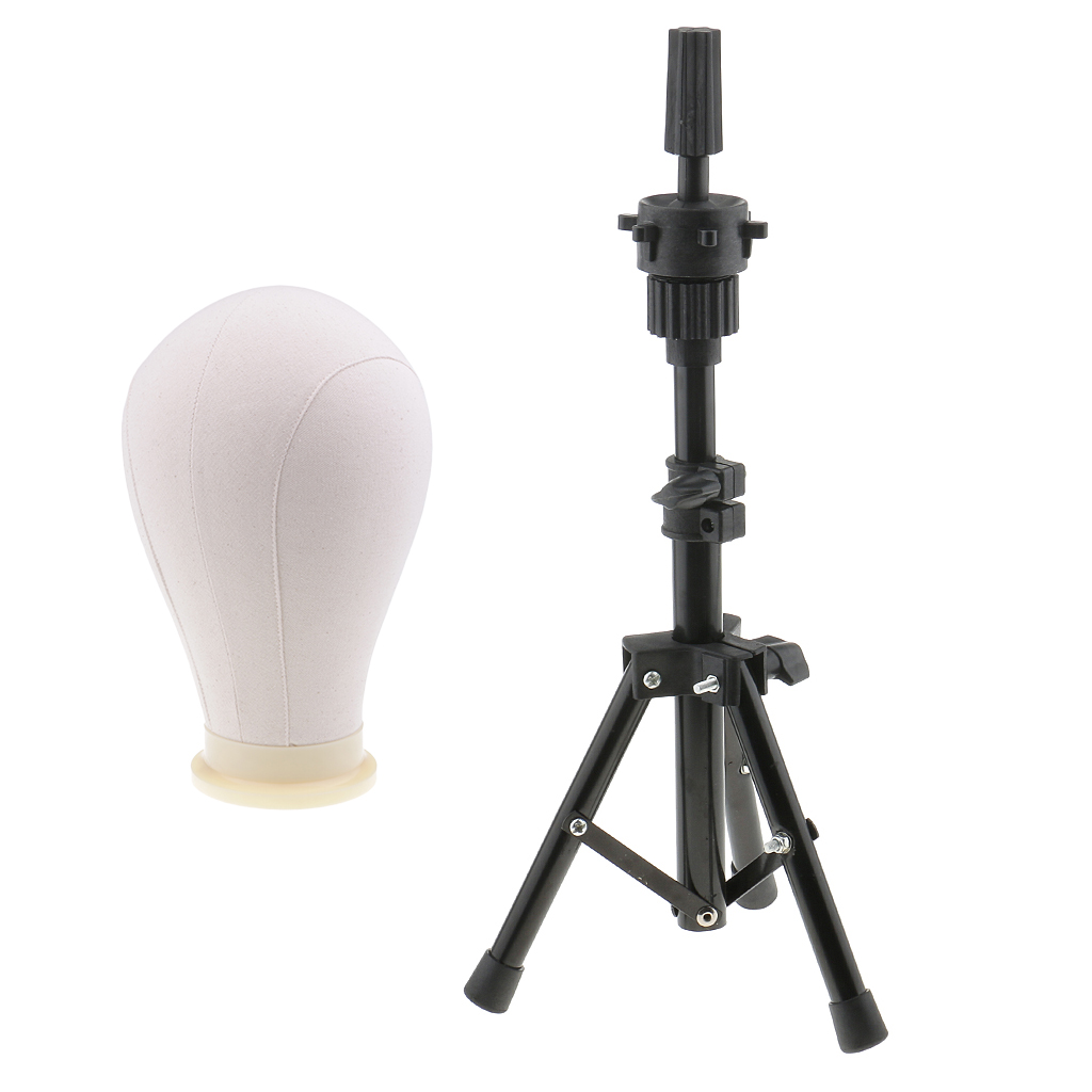24'' Beige Wig Making Styling Cork Canvas Block Mannequin Head Model With Metal Adjustable Wigs Head Stand Tripod Set