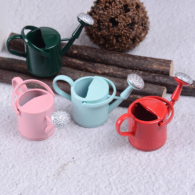 1/12 Metal Dollhouse Miniature Watering Can Handicrafts Model Dollhouse Decoration White Dollhouse Accessories Classic Baby Toys