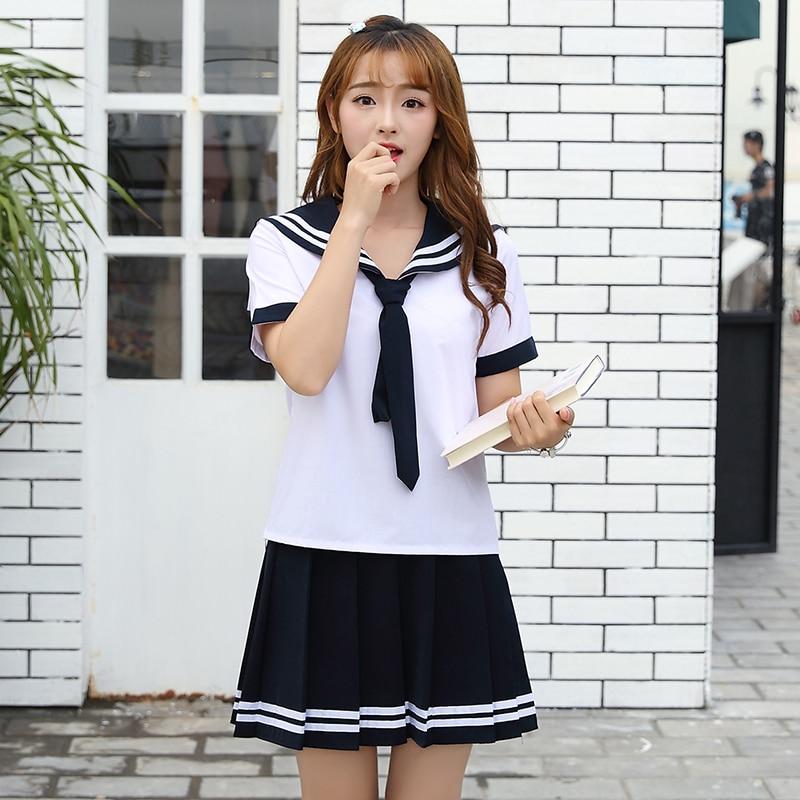 UPHYD Dark Blue Japanese Sailor Suit Cosplay Set Student Outfit Short Sleeve JK Uniform Japanese School Uniforms S-3XL