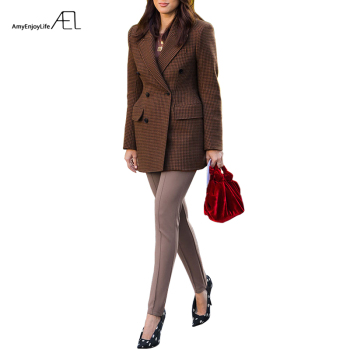 AEL Women Winter Autumn Plaid Woolen Suit Jacket 2017 Grace Female Coat Fashion Lattice Slim Waist Office Lady Clothing