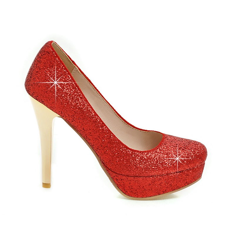 KARINLUNA New Big Size 34-43 Round Toe Platform Shoes Woman Sexy Sequined Upper Red Black Silver High Heels Party Wedding Pumps