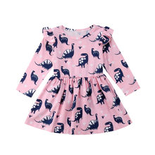 CANIS Infant Neugeborenen Kinder Baby Mädchen Kleid Langarm Dinosaurier Pageant Partei Prinzessin Bebe Mädchen Kleid Kleidung Herbst Kinder Kleid(China)