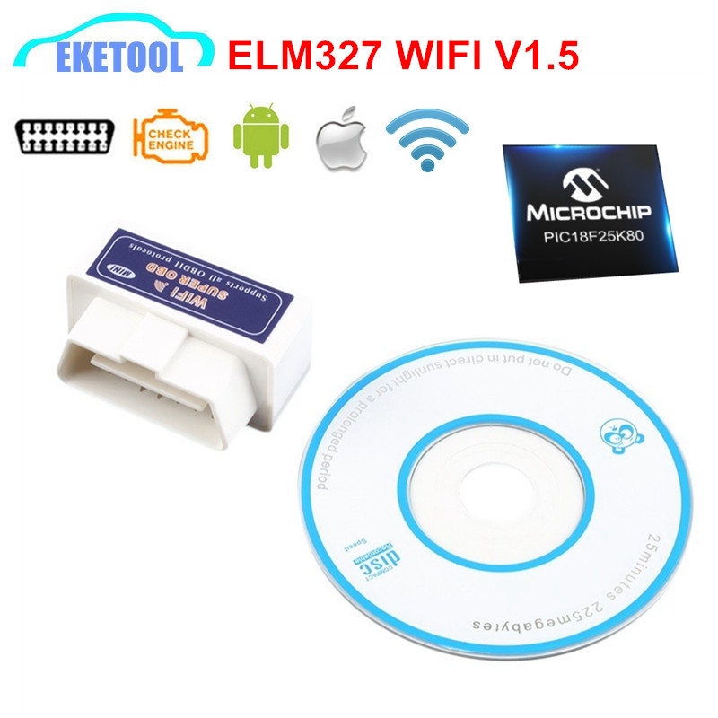 Super MINI V1.5 Hardware Real PIC18F25K80 ELM327 WIFI Supports All OBD2 Protocols