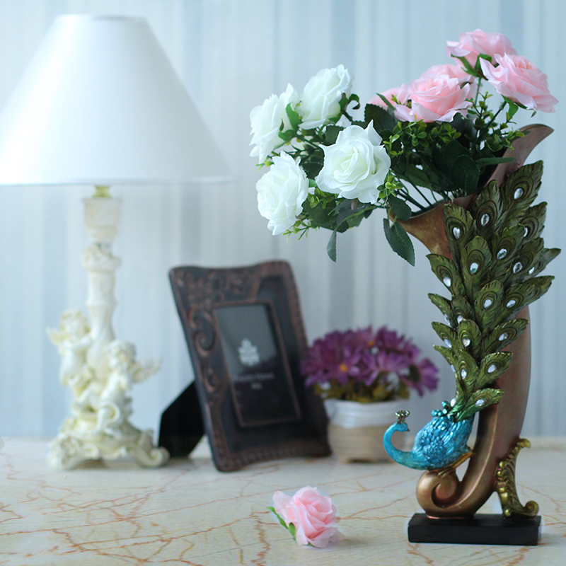 Aliexpress Com Buy Resin Peacock Vase With Flower Decoration Living Room Decorations Jewelry Ornaments New Home Tv Cabinet From Reliable Peacock