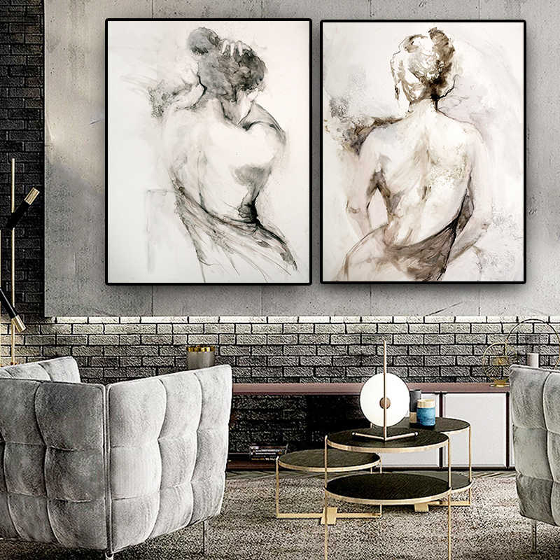 Abstract Black White Woman Sexy Naked Back Oil Painting on Canvas Posters and Prints Scandinavian Wall Art Picture Room Cuadros