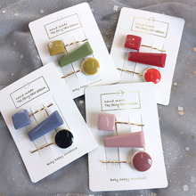 3pc/set Korea Chic solid color bead hairpin irregular metal acrylic hair clip hair accessory barrette women girl bobby pin C31 3pc acrylic drum shells 22x18 14x6 12x7inch