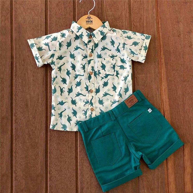 CANIS Kleinkind Baby Jungen Kleidung Dinosaurier blusen kurzarm shirts Hosen Shorts Outfit Set drucken tops und solide shorts