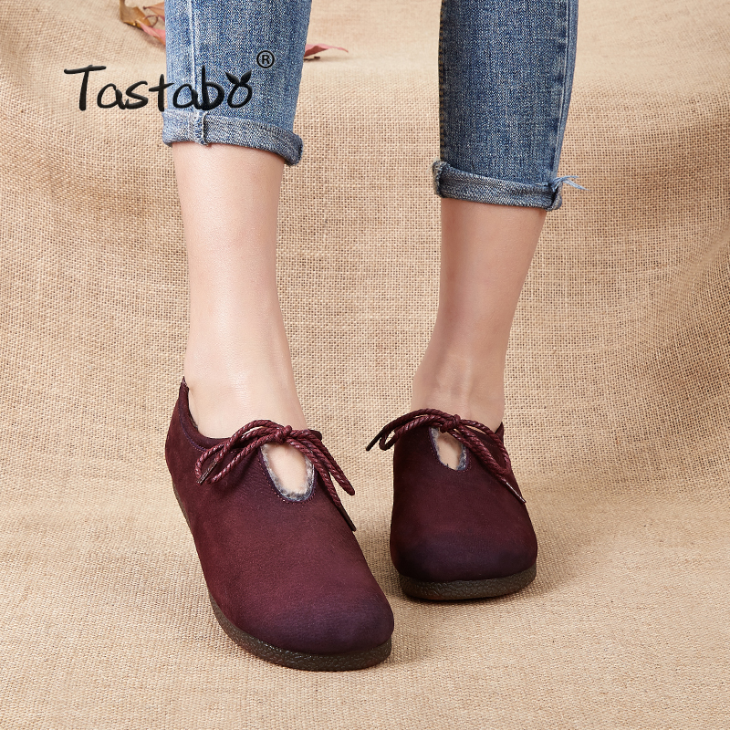 Tastabo Genuine Leather Flat Shoe Winter Woolen inside Brown Women Shoe Female Lace up Fashion Sneakers