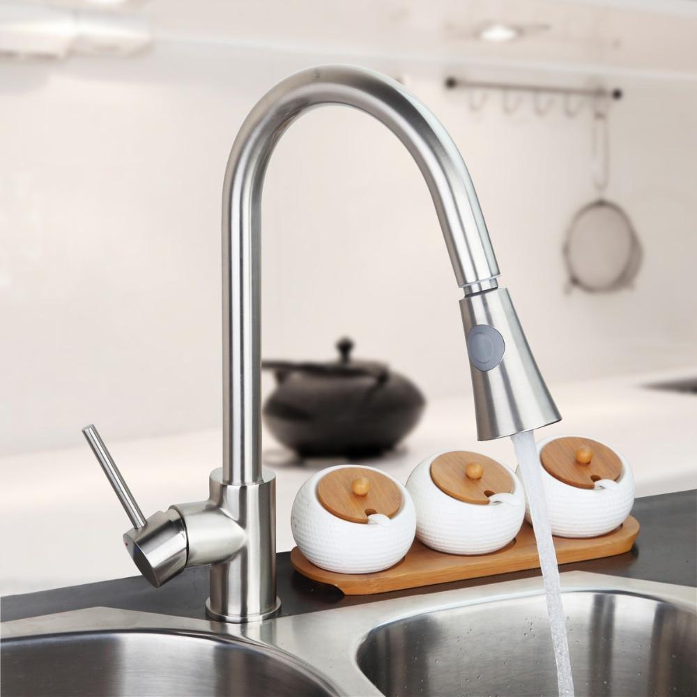 Luxury Brushed Nickel Kitchen Faucet Vessel Sink Bar Mixer Tap Single Handle Hole Dual Sprayer Deck