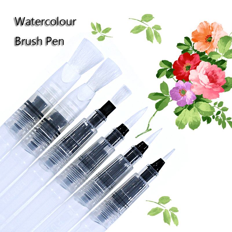 6pcs watercolour set art waterbrush pen soft brush tips for Set painting techniques