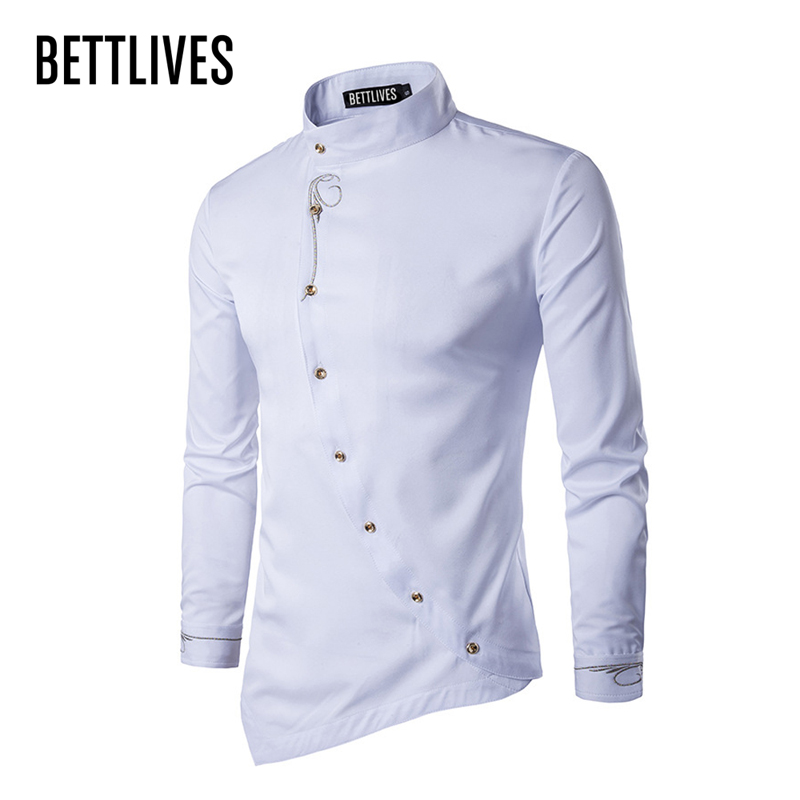 Brand designer men shirts buckle irregular high end male for High end men s dress shirts