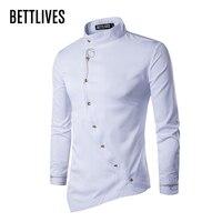 Personality Brand Men Shirt Buckle Irregular High Grade Shirt Long Sleeve Slim Fit Camo Shirt Homme