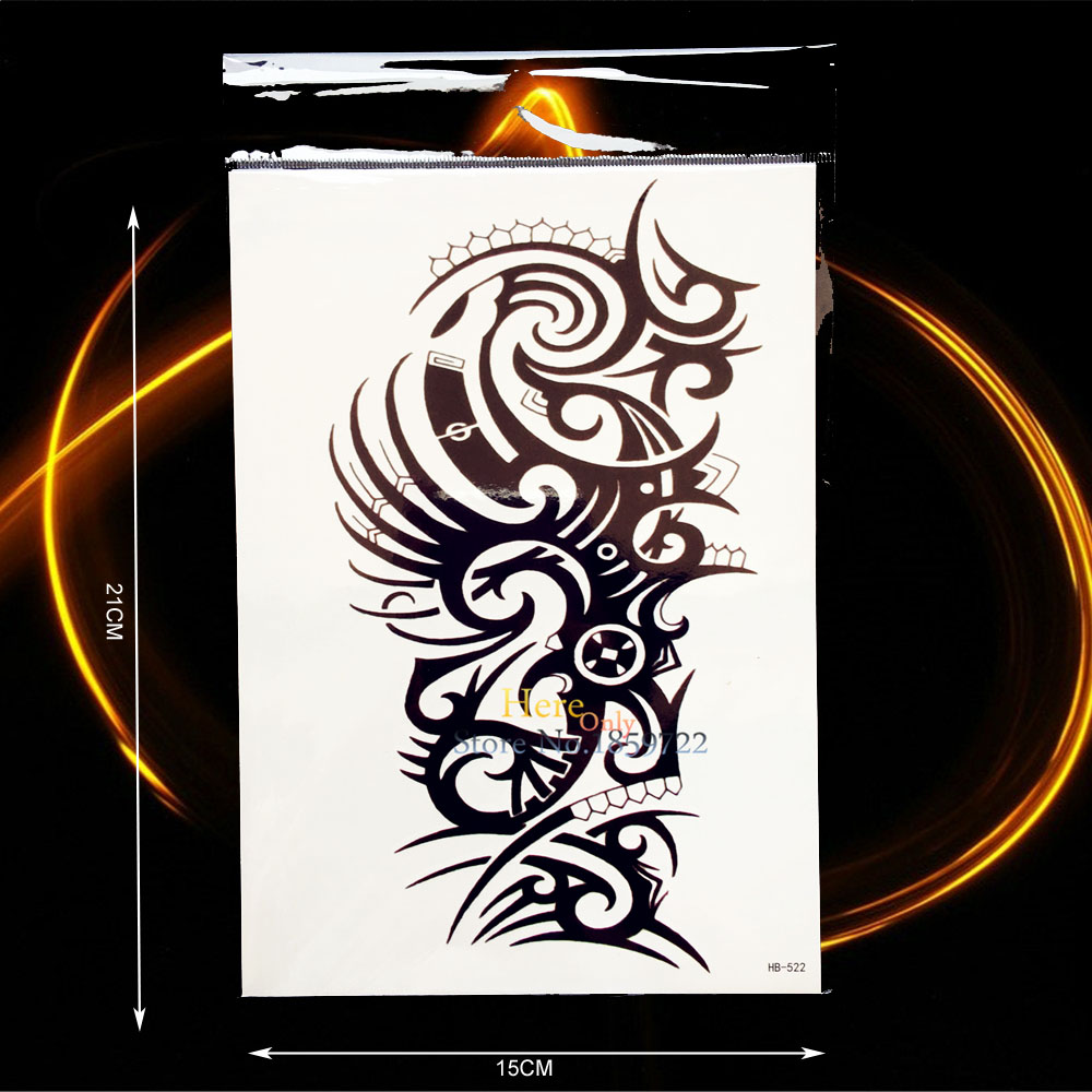 Cool Waterproof Arm Tattoo Sleeve Black Harajuku Totem Design Punk Men Women Body Leg Art Temporary Tattoo Sticker Decals HHB522