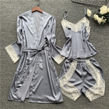 Women Pajamas 3 Pieces Satin Sleepwear Pijama Silk Home Wear Home Clothing Embroidery Sleep