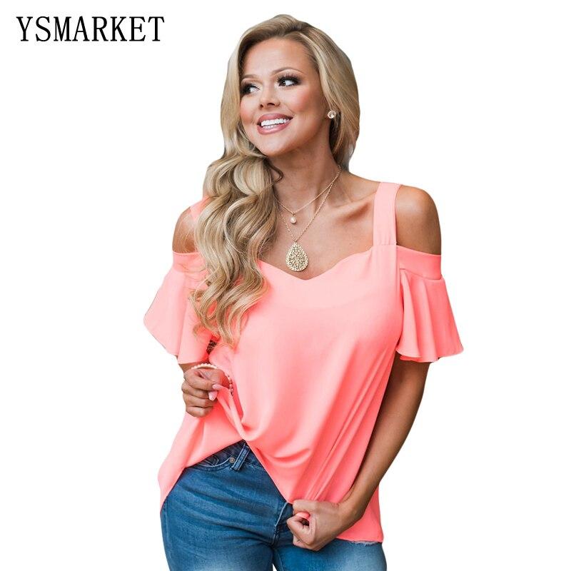 2017 New Fashion Womens Loose T Shirt Summer Casual Brief Short Sleeves Irregular Female Tops Sexy Off Shoulder Shirts H250150