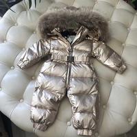 Baby Jumpsuit Silver Gold Winter Coats Children's Brand Down Jacket for Girls Clothing Boys Snowsuit Infant Snowsuit Kids Romper