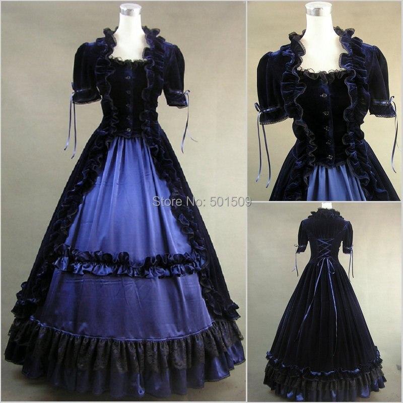 ruffles gothic ruffles long medieval dress Renaissance Gown queen cosplay Victorian /Marie Belle Ball