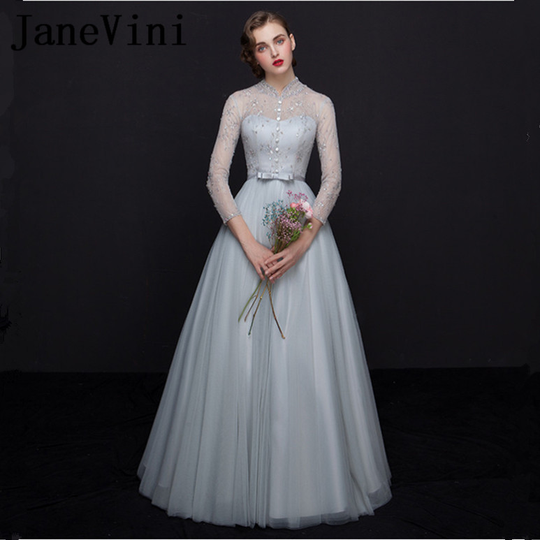 JaneVini Charming Light Gray Sequined Long   Bridesmaid     Dresses   A Line High Neck 3/4 Long Sleeves Tulle Prom Gowns Floor Length