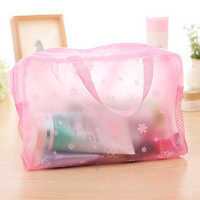 50pcs/lot Cosmetic Bags Floral Print Transparent Waterproof Makeup Make up Bag Travel Pouch Toiletry Organizer Bag Gift