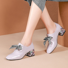 Women Pumps Cow Leather Crystal Heel High Heels Lady Shoes Lace Up Sweet Bow Genuine Leather Girl Platform Pumps Size 34-42 цены онлайн