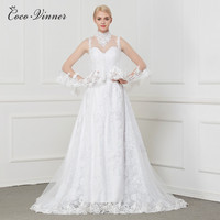 C V Straps With Wrap Two Pieces Fashion A Line Wedding Dress 2018 Embroidery Appliques Beading