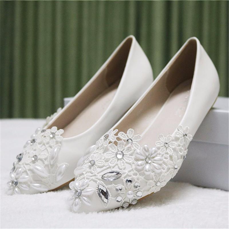 f6c0fe9d92d2a9 Women Shoes Handmade Wedding Shoes Lace Diamond Pearl ...
