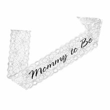 Lace Mommy to Be Sash Baby Shower for the Mom Gender Reveals Party Decorations Gift Boy or Girl white black