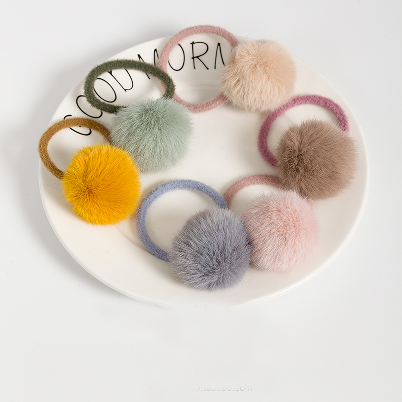 Baby Girl Cute Mini Faux Fur Ball Solid Color Pompon Elastic Hair Band Scrunchy Lovely Kids Rubber Headbands Hair Accessories