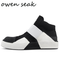 18ss Owen Seak Arrival Men Casual Canvas Shoes High TOP Ankle Luxury Trainers Sneaker Rock Boots Brand Flats Black Shoes