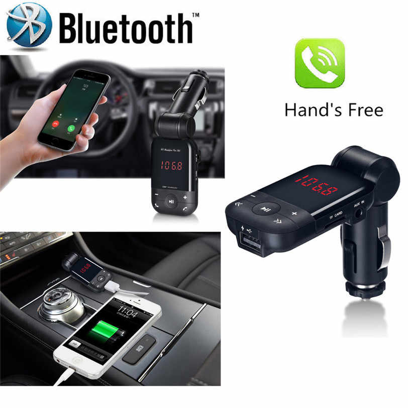 Car-styling LCD Bluetooth Car Kit Cigarette Lighter MP3 FM Transmitter Handsfree USB Smart Car Charger car-styling