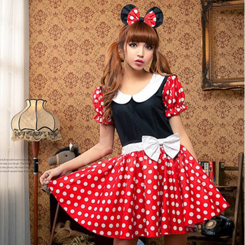 Cute Girls Dress Minnie Mouse Women Dresses Halloween Party Costume Dance Leotard Mickey Cosplay Dots Dancewear For Girl C076