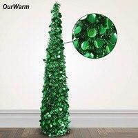 OurWarm Bling paillettes arbre de noël 150cm Tinsel artificiel Pop Up noël nouvel an décoration décorations de noël pour la maison