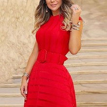 Women Fit And Flare Mesh Midi Dress Elegant O Neck Ladies High Waist Party Summer Sleeveless Sashes Irregular