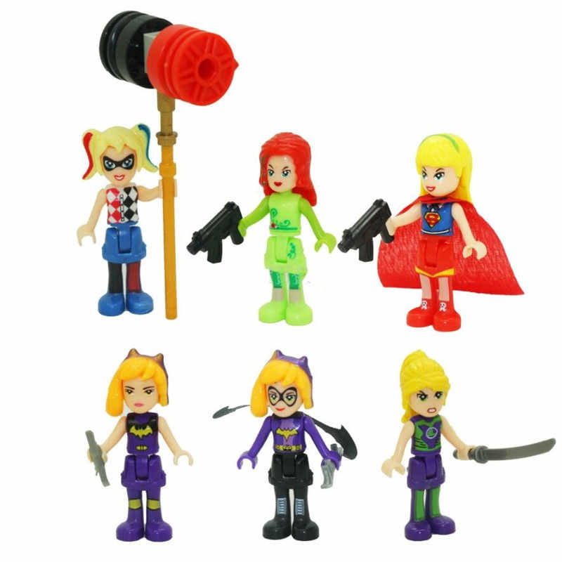 New Legoinglys Super Hero Girls Wonder Woman Poison Ivy Toy Figure Motorcycle Building Block Toys