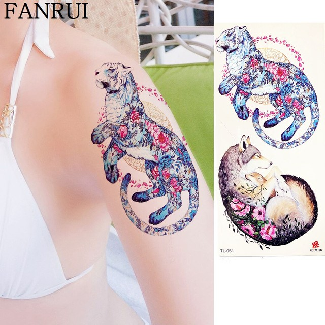 dc45a8bcf 3D Watercolor Tiger Sexy Wolf Tattoo Stickers Girls Arm Chest Temporary  Tattoo Women Body Art Waist Flash Tatoos Animal Decal