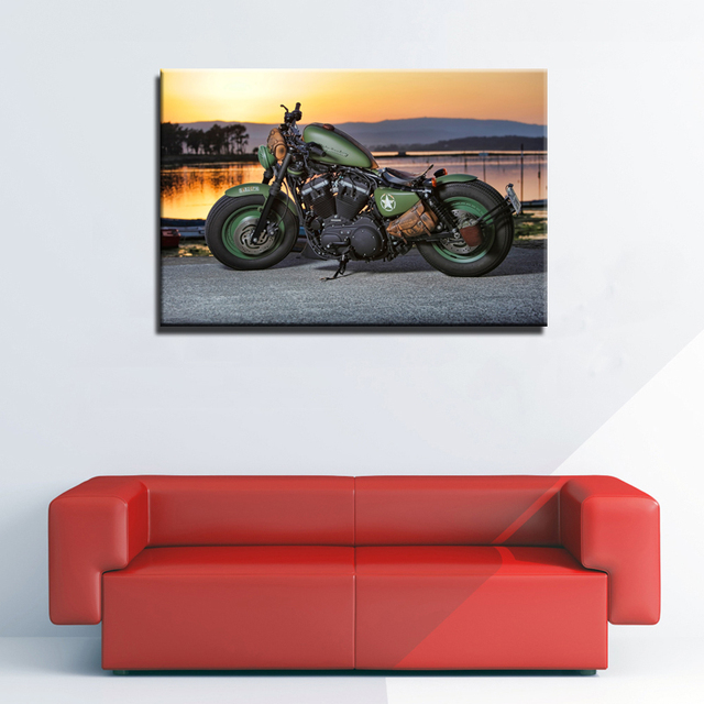 Harley Davidson Motorbike Motorcycle Poster Canvas Print Wall Art For Home Decor